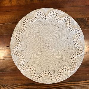 Set of 2 white beaded placements from Pier 1.